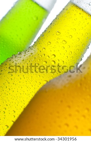 Ice cold tropical drinks on white background - stock photo