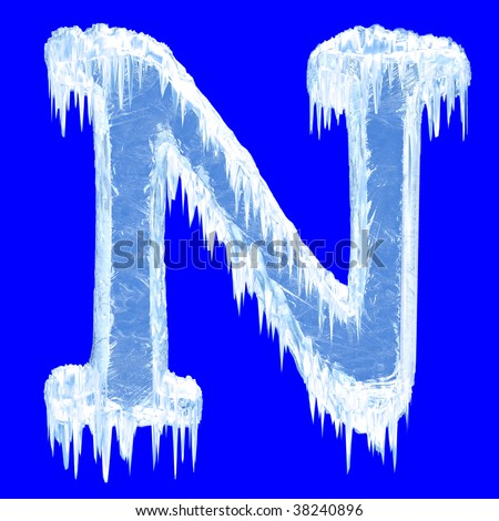 Ice-covered alphabet. Letter N.Upper case.With clipping path. - stock photo