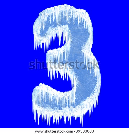 Ice-covered alphabet. Number three. With clipping path. - stock photo