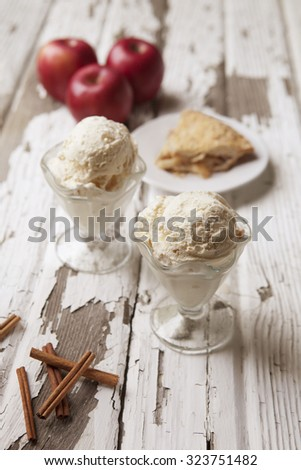 Ice Cream and Apple Pie - stock photo