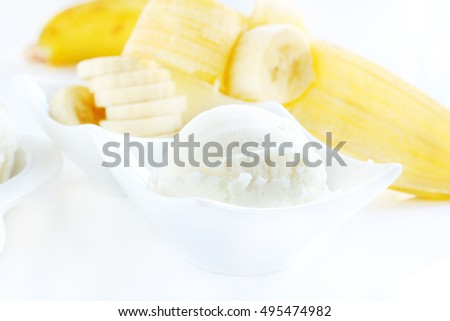 Ice cream banana is sweet food in  a cup.