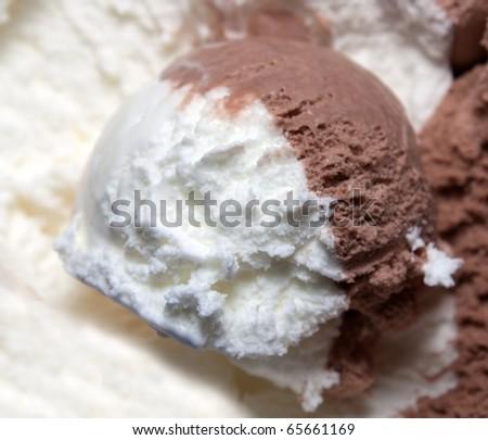 Ice cream chocolate and vanilla - stock photo