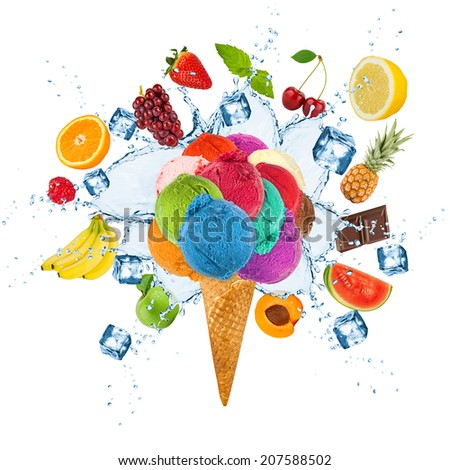 ice cream concept with ice cubes and fruits - stock photo
