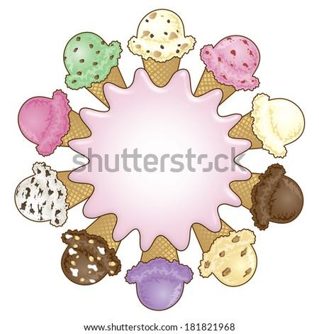 Ice Cream Cone Frame Sign Stock Illustration 181821968 - Shutterstock