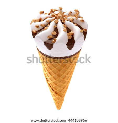 ice cream cone isolated / 3D illustration