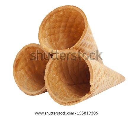 Ice cream cones, isolated on white background - stock photo