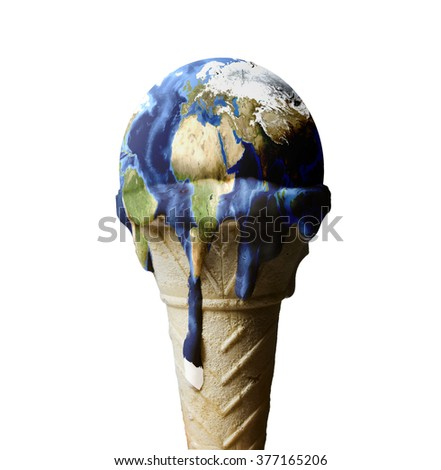 ice cream earth melts - global warming concept - stock photo