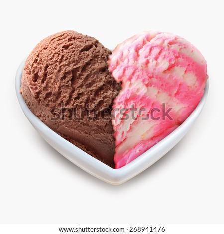 Ice cream heart shape in white bowl - stock photo