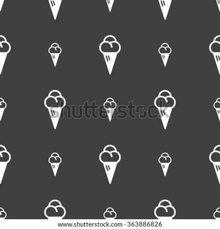 ice cream icon sign. Seamless pattern on a gray background. illustration - stock photo