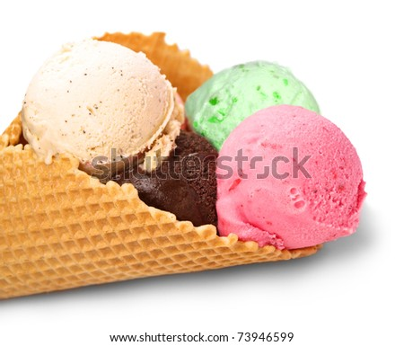 Ice cream isolated on white - stock photo