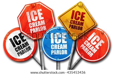 ice cream parlor, 3D rendering, street signs - stock photo