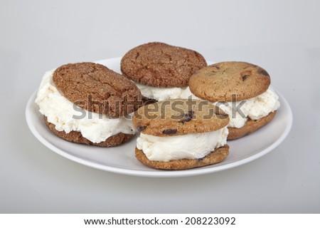 Ice cream sandwiches cookies - stock photo