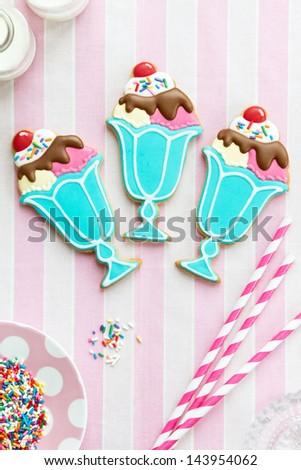 Ice cream sundae cookies - stock photo