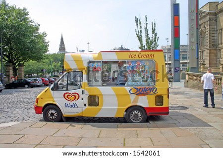 Ice Cream Van Outside Liverpool Museum UK - stock photo