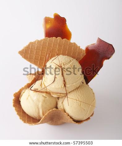 Ice-cream with caramel - stock photo