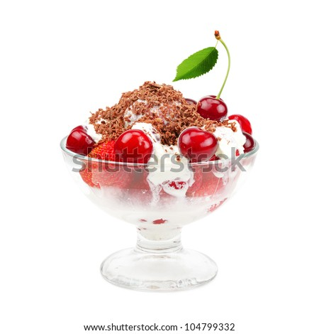 Ice cream with strawberries and cherries isolated on white - stock photo