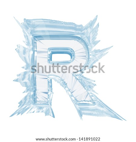 Ice crystal  font. Letter R.Upper case.With clipping path  - stock photo