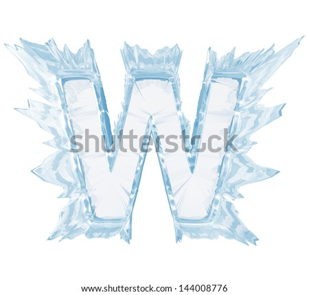 Ice crystal  font. Letter W.Upper case.With clipping path  - stock photo