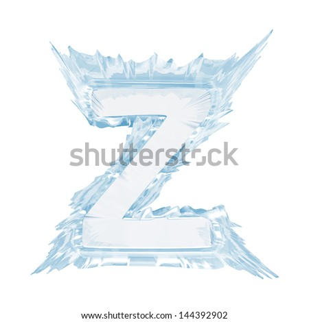 Ice crystal  font. Letter Z.Upper case.With clipping path  - stock photo