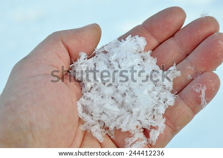 ice crystals in my hand - stock photo