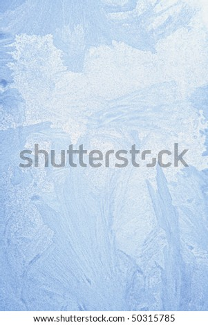 ice crystals on window in winter - stock photo