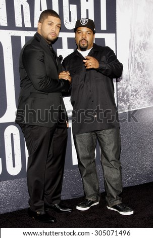 Ice Cube and O'Shea Jackson Jr. at the Los Angeles premiere of 'Straight Outta Compton' held at the Microsoft Theatre in Los Angeles, USA on August 10, 2015.  - stock photo