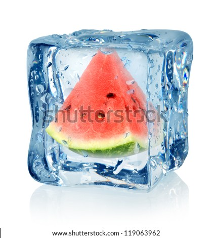 Ice cube and watermelon isolated on a white background - stock photo