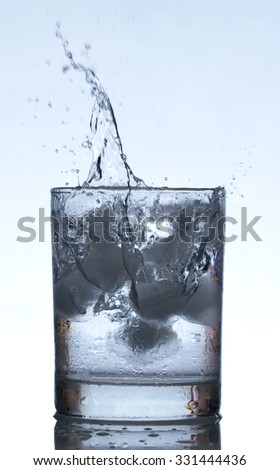 Ice cube drop into Water Glass