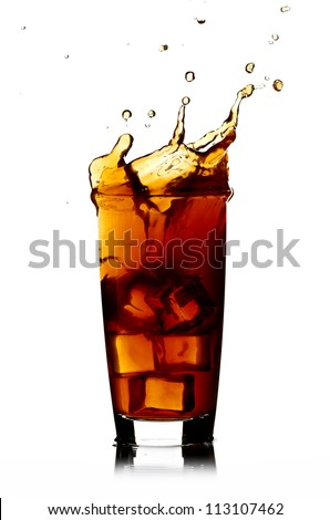 Ice cube droped in cola glass isolated - stock photo
