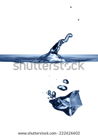 Ice-cube is dropped into clear water isolated on white