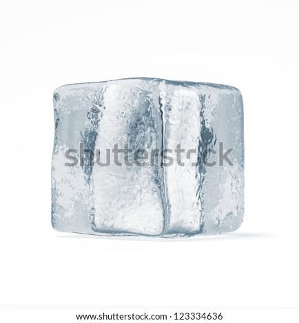 Ice cube isolated on a white background - stock photo