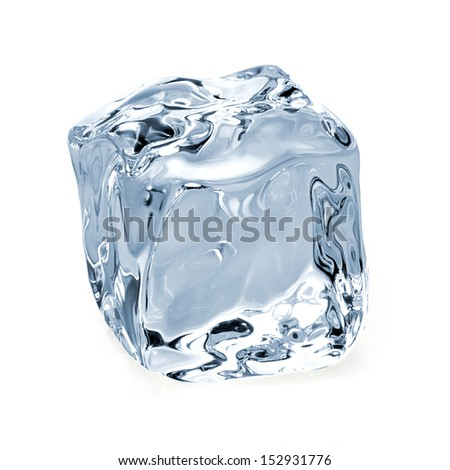Ice cube on white background - stock photo