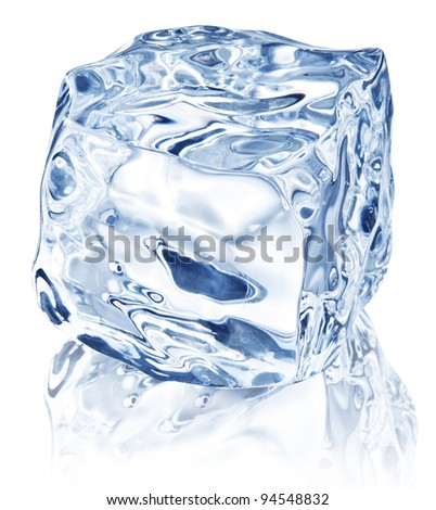 Ice cube on white background. File contains path to cut. - stock photo