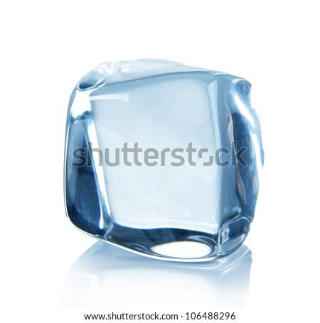 Ice cube over white - stock photo