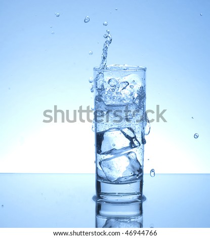 Ice cube splash in a glass of water