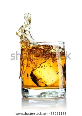 Ice cube splashing in scotch isolated on white