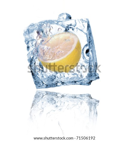 Ice cube with lemon isolated on white - stock photo