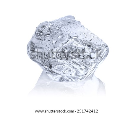 Ice cube with reflection - stock photo