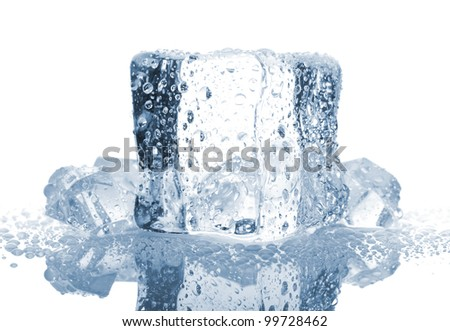 Ice cube with water drops isolated on white background - stock photo