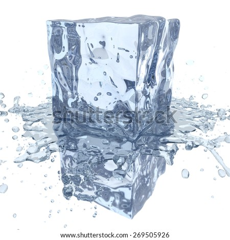 Ice cube with water splash, 3D render - stock photo