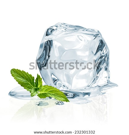 Ice cubes and mint leaves on a white background  - stock photo