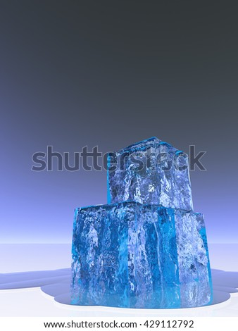 Ice Cubes 3D Render - stock photo