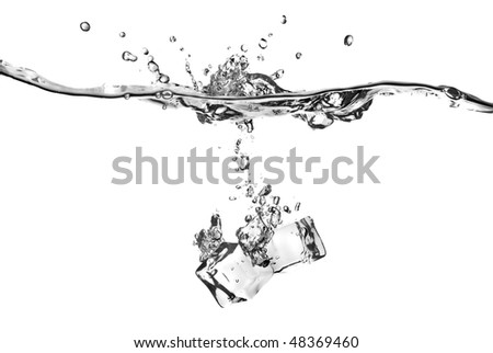 ice cubes dropped into water with splash isolated on white - stock photo