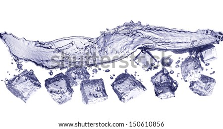 ice cubes dropped into water with white background - stock photo