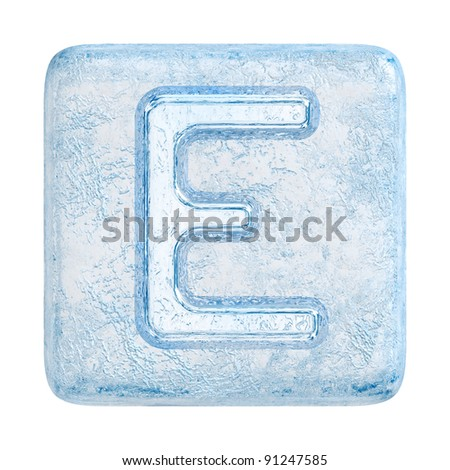 Ice cubes Font. Letter E - stock photo