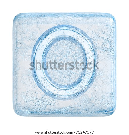 Ice cubes Font. Letter O - stock photo