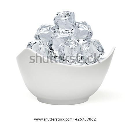 Ice cubes in bowl isolated on white background - stock photo