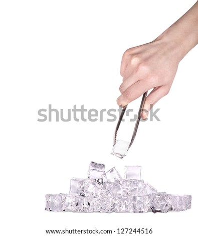 Ice cubes isolated on a white background with hand and tongs - stock photo