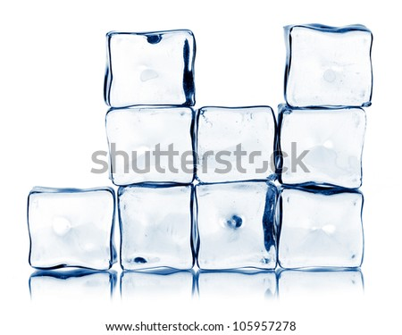 ice cubes isolated on a white backgtound