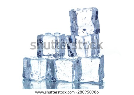 Ice cubes isolated on white - stock photo